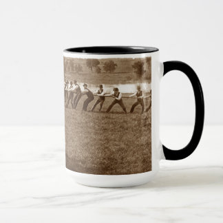1890's Men Man Tug-O-War Fox River Elgin IL Photo Mug