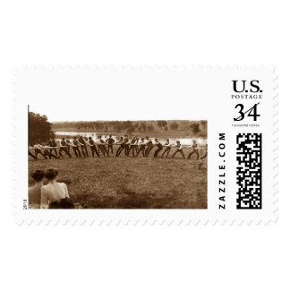 1890's Men Man Tug-O-War Fox River Elgin IL Photo Postage