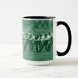 1890's Men Man Tug-O-War Tug of War Photo green Mug