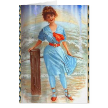 1890s Victorian lady on the beach Card