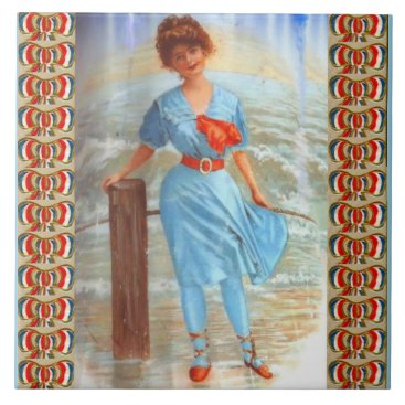 1890s Victorian lady on the beach Ceramic Tile