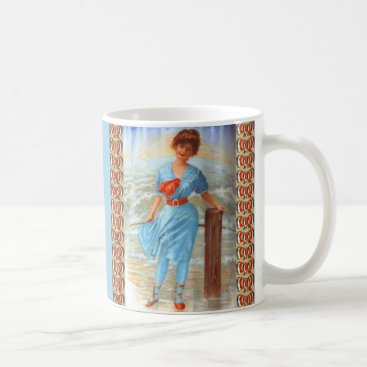 1890s Victorian lady on the beach Coffee Mug