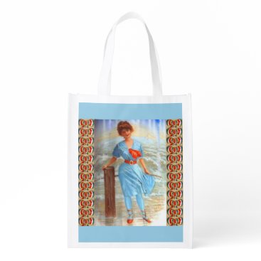 Beach Themed 1890s Victorian lady on the beach Grocery Bag
