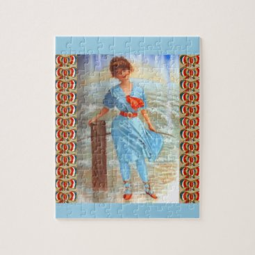 1890s Victorian lady on the beach Jigsaw Puzzle
