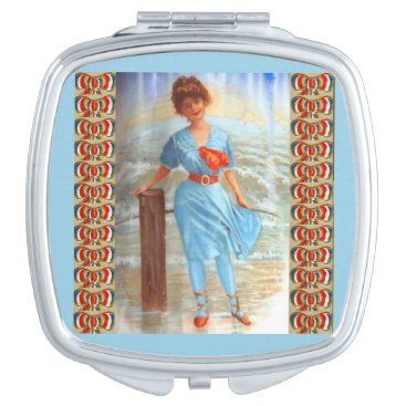 Beach Themed 1890s Victorian lady on the beach Mirror For Makeup