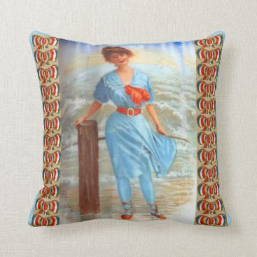 1890s Victorian lady on the beach print Throw Pillow