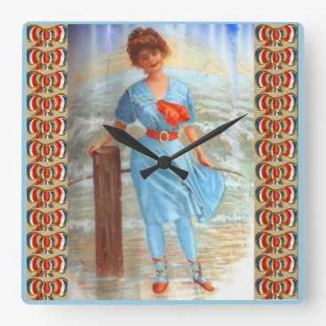 1890s Victorian lady on the beach Square Wall Clock