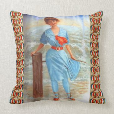 1890s Victorian lady on the beach Throw Pillow