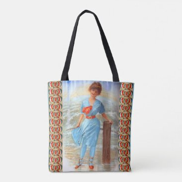 Beach Themed 1890s Victorian lady on the beach Tote Bag