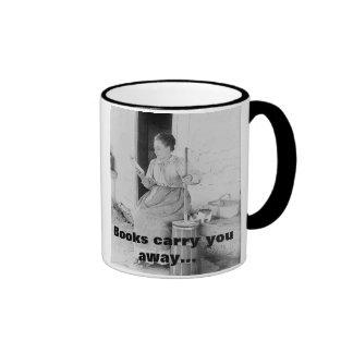 1890's woman reading while working ringer mug