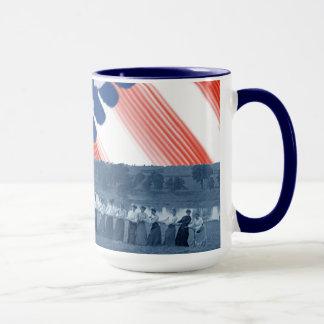 1890's  Women Tug of War Tug-O-War American Flag Mug