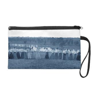1890's Women Woman Tug-O-War Photo Tug of War blue Wristlet