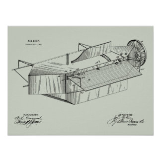 1891 Airship Airplane Patent Art Drawing Print