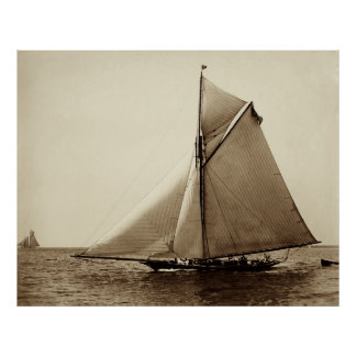 1891 American Yacht at Sea Poster