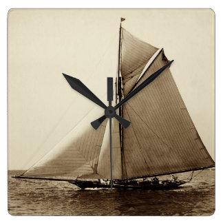 1891 American Yacht at Sea Square Wall Clock
