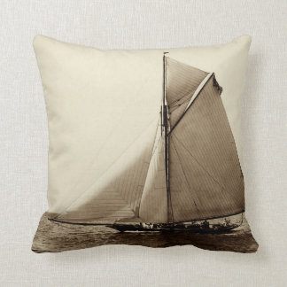 1891 American Yacht at Sea Throw Pillow