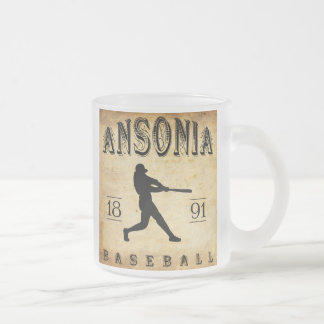 1891 Ansonia Connecticut Baseball Frosted Glass Coffee Mug