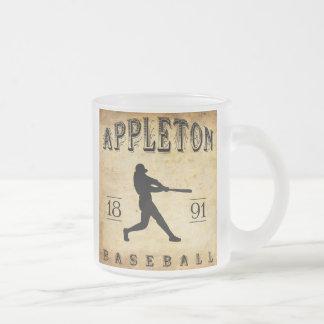 1891 Appleton Wisconsin Baseball Frosted Glass Coffee Mug