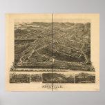 1891 Asheville, mapa panorámico de la opinión de o Poster