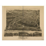 1891 Asheville, NC Birds Eye View Panoramic Map Posters