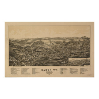 1891 Barre, VT Bird's Eye View Panoramic Map Poster