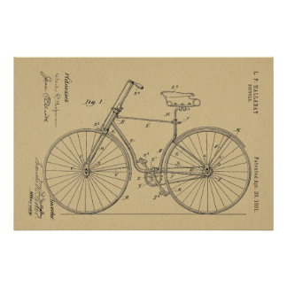 1891 Bicycle Patent Art Drawing Print