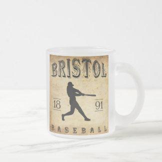 1891 Bristol Connecticut Baseball Frosted Glass Coffee Mug