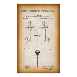 1891 FIRST WIRELESS COMMUNICATION PATENT POSTER