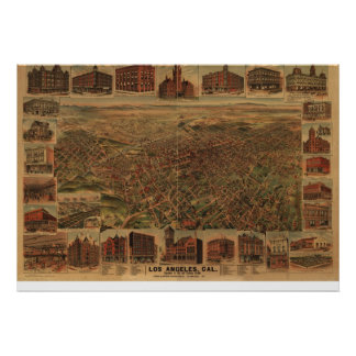 1891 Los Angeles CA Birds Eye Panoramic Map Poster