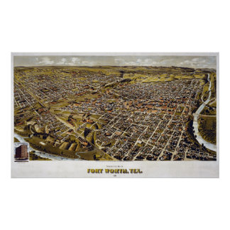 1891 Map of Fort Worth, TX Birds Eye View Print