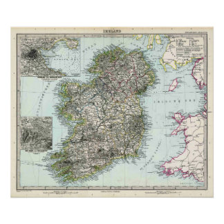 1891 Map of Ireland Poster