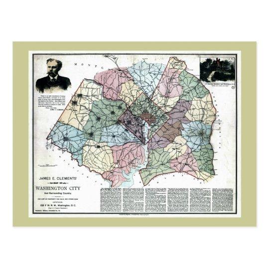 1891 Map of Washington City & Surrounding Country Postcard