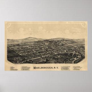 1891 Marlborough, mapa panorámico de la opinión de Poster