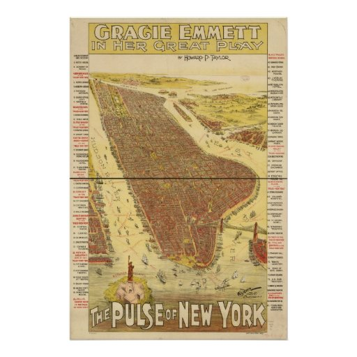 1891 New York City NY Birds Eye View Panoramic Map Poster