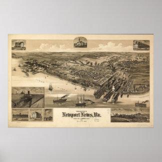 1891 Newport News, VA Birds Eye View Panoramic Map Poster