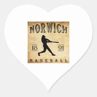 1891 Norwich Connecticut Baseball Heart Sticker