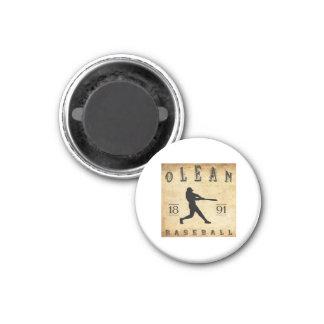 1891 Olean New York Baseball 1 Inch Round Magnet
