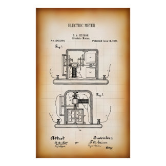 Electrical blueprint art framed artwork zazzle 1891 patent for first electricity meter poster malvernweather Choice Image