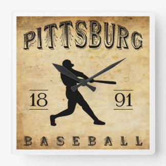 1891 Pittsburg Kansas Baseball Square Wall Clocks