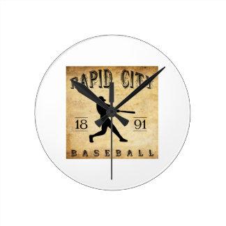 1891 Rapid City South Dakota Baseball Round Wallclocks