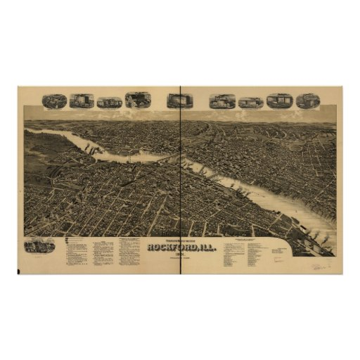 1891 Rockford, IL Birds Eye View Panoramic Map Poster