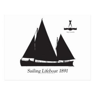 1891 sailing lifeboat - tony fernandes postcard