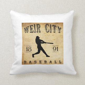 1891 Weir City Kansas Baseball Throw Pillow