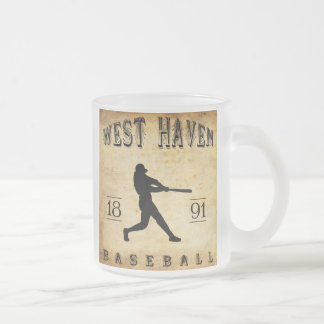 1891 West Haven Connecticut Baseball Frosted Glass Coffee Mug
