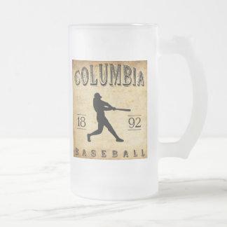 1892 Columbia South Carolina Baseball Frosted Glass Beer Mug