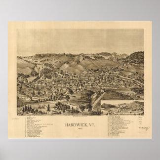 1892 Hardwick, VT Bird's Eye View Panoramic Map Poster