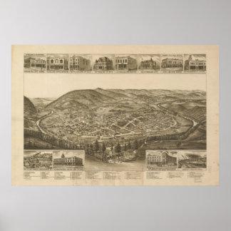 1892 Harriman, TN Birds Eye View Panoramic Map Poster