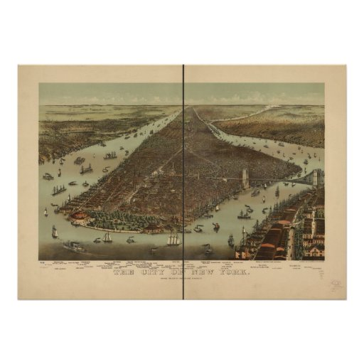 1892 New York City NY Birds Eye View Panoramic Map Print