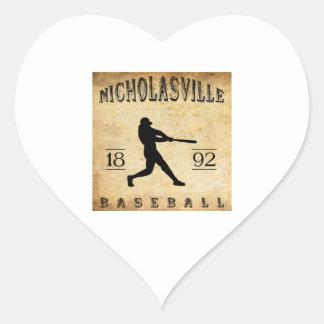 1892 Nicholasville Kentucky Baseball Heart Sticker