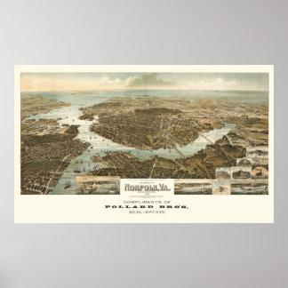 1892 Norfolk, VA Bird's Eye View Panoramic Map Poster